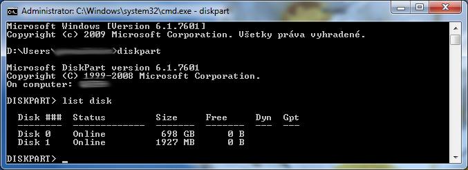 Spustenie nástroja Diskpart a zadanie príkazu list disk