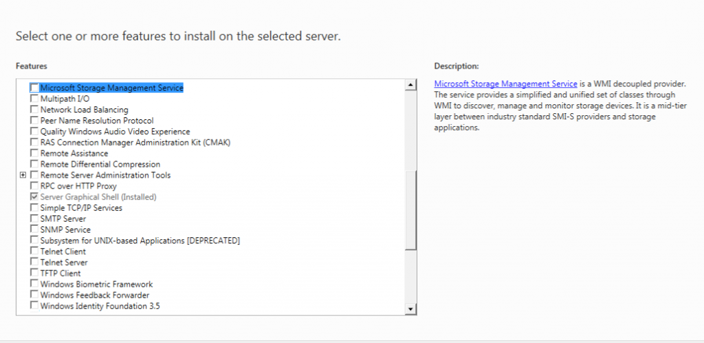 Features Windows Server 8