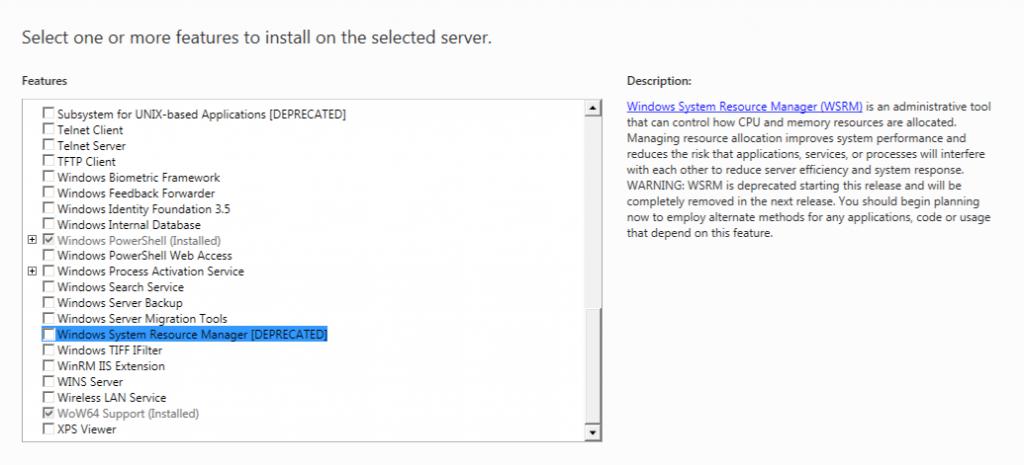 Features Windows Server 8