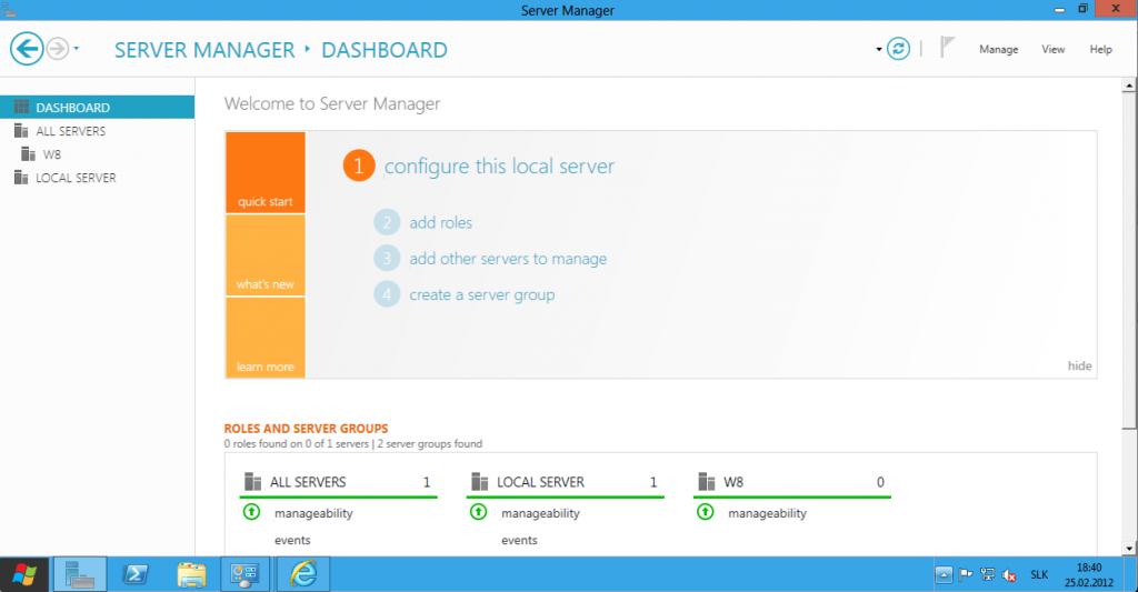 Windows Server 8 Dashboard