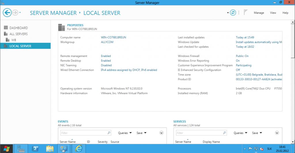 Server Manager Windows Server 8
