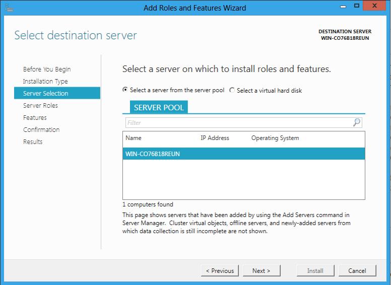 Výber servrov pre inštaláciu role Windows Server 8