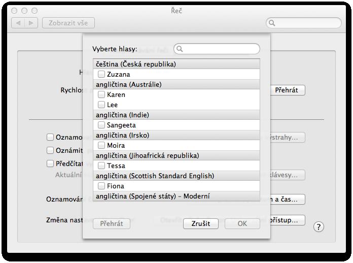 MAC OS X VYBER RECI